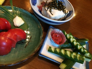 昼食 もろきゅう トマト 納豆豆腐