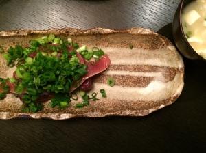 夕食 カツオの漬け 野菜おひたし